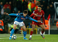 Eljif Elmas of Napoli and Trent Alexander-Arnold of Liverpool during the UEFA Champions League match at Anfield, Liverpool. Picture date: 27th November 2019. Picture credit should read: Andrew Yates/Sportimage PUBLICATIONxNOTxINxUK SPI-0331-0084<br /> Liverpool 27-11-2019 Anfield <br /> Football Uefa Champions League 2019/2020 <br /> Liverpool Vs Napoli <br /> Photo Imago/Insidefoto <br /> ITALY ONLY