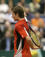 21-2-06, Netherlands, tennis, Rotterdam, ABNAMROWTT, Antal van der Duim iouts his frustration in his match against Calatrava