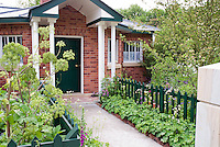Front entry garden of brick house with green picket fence, green front door and trim, Alchemilla mollis, herbs angelica, spring, flowers and trees, front path walkway