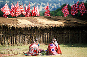 Lolgorian, Kenya. Siria Maasai Manyatta; stick walled houses with dung, mud and thatch roofs, flags, people sitting.