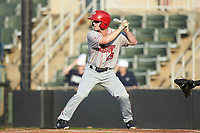 Gage Canning (29) of the Hagerstown Suns at bat against the Kannapolis Intimidators at Kannapolis Intimidators Stadium on July 16, 2018 in Kannapolis, North Carolina. The Intimidators defeated the Suns 7-6. (Brian Westerholt/Four Seam Images)