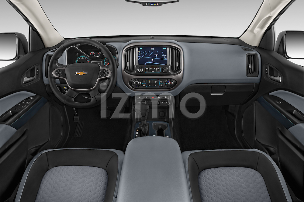 Stock photo of straight dashboard view of a 2017 Chevrolet Colorado Z71 Crew Cab 4 Door Pick Up Dashboard