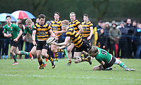 ULSTER SCHOOLS CUP QUARTER FINAL - RBAI vs SULLIVAN | Saturday 20th February 2016<br /> <br /> Charlie Fryers passes to Michael Lowry during the quarter final clash of the Ulster Schools Cup between RBAI and Sullivan Upper School at Osborne Park, Belfast, Northern Ireland. Photo credit: John Dickson / DICKSONDIGITAL