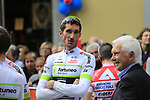 Brice Feillu (FRA) Team Fortuneo-Samsic chats with Gianni Savio at sign on before the start of the 99th edition of Milan-Turin 2018, running 200km from Magenta Milan to Superga Basilica Turin, Italy. 10th October 2018.<br /> Picture: Eoin Clarke | Cyclefile<br /> <br /> <br /> All photos usage must carry mandatory copyright credit (© Cyclefile | Eoin Clarke)