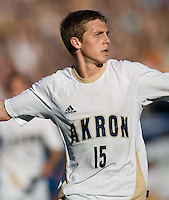 Akron's Scott Caldwell (15) begins to celebrate his winning goal. 2010 NCAA D1 College Cup Championship Final Akron defeated Louisville 1-0 at Harder Stadium on the campus of UCSB in Santa Barbara, California on Sunday December 12, 2010.