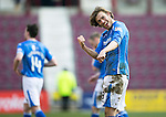 Hearts v St Johnstone…19.03.16  Tynecastle, Edinburgh<br />Two goal hero Murray Davidson celebrates with the fans at full time<br />Picture by Graeme Hart.<br />Copyright Perthshire Picture Agency<br />Tel: 01738 623350  Mobile: 07990 594431