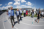 University of Nevada, Reno Athletic Director Doug Knuth, left, takes Raiders president Marc Badain and Democratic governor candidate Steve Sisolak on a tour of their athletic facilities in Reno, Nev., on Thursday, Aug. 16, 2018. The Raiders are considering several potential training camp locations in Reno. (Cathleen Allison/Las Vegas Review-Journal)