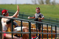 A young boy returns to his family after retrieving a foul ball during a game between the Salt Lake Bees the Las Vegas 51s at Cashman Field on May 27, 2013 in Las Vegas, Nevada. Las Vegas defeated Salt Lake, 9-7. (Larry Goren/Four Seam Images)