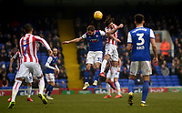 Ipswich Town's Alan Judge  battles with Stoke City's Joe Allen<br /> <br /> Photographer Hannah Fountain/CameraSport<br /> <br /> The EFL Sky Bet Championship - Ipswich Town v Stoke City - Saturday 16th February 2019 - Portman Road - Ipswich<br /> <br /> World Copyright © 2019 CameraSport. All rights reserved. 43 Linden Ave. Countesthorpe. Leicester. England. LE8 5PG - Tel: +44 (0) 116 277 4147 - admin@camerasport.com - www.camerasport.com