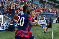 KANSAS CITY, KS - JULY 11: Sam Vines #3 of the United States scores a goal and celebrates with Shaq Moore during a game between Haiti and USMNT at Children's Mercy Park on July 11, 2021 in Kansas City, Kansas.