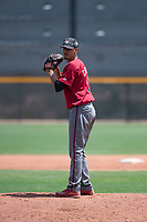 Arizona Diamondbacks relief pitcher Luis Castillo (12) prepares to deliver a pitch during an Extended Spring Training game against the Cleveland Indians at the Cleveland Indians Training Complex on May 27, 2018 in Goodyear, Arizona. (Zachary Lucy/Four Seam Images)