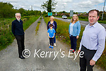 Concerned locals standing at country road L-11047-0 which is in urgent need of resurfacing which runs along the Farranfore to Tralee N22 road, in Farranfore. L to r: Jerome Crowley, Oisin Moynihan, Christine Kelly Moynihan, Francis Murphy and Cllr Fionnán Fitzgerald.