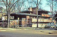 Frank Lloyd Wright:  Robie House, Oak Park IL, 1909. NRHP 1966. Located on campus of U. of Chicago. Prairie style