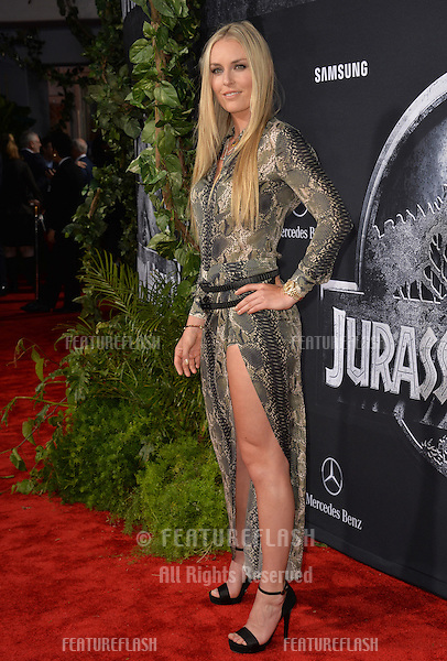 """Lindsey Vonn at the world premiere of """"Jurassic World"""" at the Dolby Theatre, Hollywood.<br /> June 10, 2015  Los Angeles, CA<br /> Picture: Paul Smith / Featureflash"""