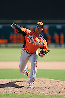 Baltimore Orioles pitcher Juan Echevarria (61) during an instructional league game against the Tampa Bay Rays on September 25, 2015 at Ed Smith Stadium in Sarasota, Florida.  (Mike Janes/Four Seam Images)