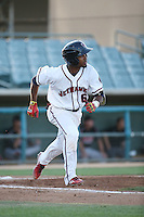 Osvaldo Duarte (6) of the Lancaster JetHawks runs to first base during a game against the Lake Elsinore Storm at The Hanger on August 2, 2016 in Lancaster, California. Lake Elsinore defeated Lancaster, 10-9. (Larry Goren/Four Seam Images)