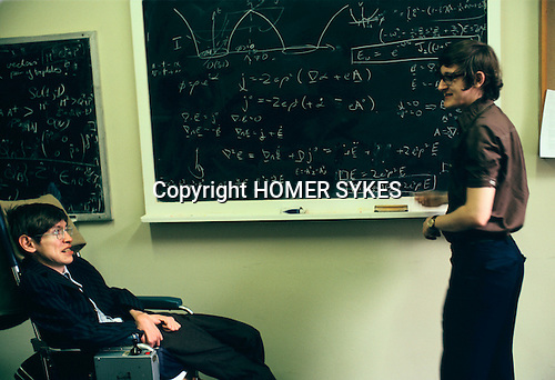 Stephen Hawking 1981 Cambridge University tutorial with student Ian Moss. Ian Moss is now Professor of Theoretical Cosmology at the University of Newcastle UK