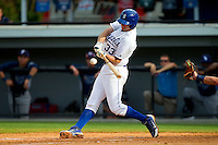 Sam Bates (33) of the Burlington Royals takes his swings against the Princeton Rays at Burlington Athletic Park on July 5, 2013 in Burlington, North Carolina.  The Royals defeated the Rays 5-1 in game one of a doubleheader.  (Brian Westerholt/Four Seam Images)
