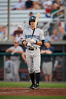 Hudson Valley Renegades shortstop Ford Proctor (7) at bat during a game against the Auburn Doubledays on September 5, 2018 at Falcon Park in Auburn, New York.  Hudson Valley defeated Auburn 11-5.  (Mike Janes/Four Seam Images)