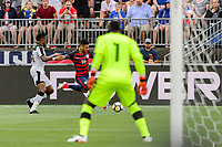 East Hartford, CT - Saturday July 01, 2017: Jerry Akaminko, Dom Dwyer, Richard Ofori during an international friendly match between the men's national teams of the United States (USA) and Ghana (GHA) at Pratt & Whitney Stadium at Rentschler Field.