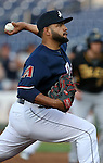 Reno Aces' Edwin Escobar pitches against the Salt Lake Bees at Greater Nevada Field, in Reno, Nev., on Wednesday, Aug. 10, 2016.  <br /> Photo by Cathleen Allison