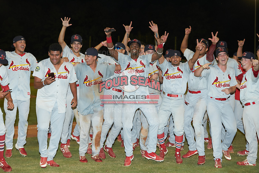 The Johnson City Cardinals celebrate after their win over the Burlington Royals to claim the 2019 Appalachian League Championship at Burlington Athletic Stadium on September 4, 2019 in Burlington, North Carolina. The Cardinals defeated the Royals 8-6 to win the 2019 Appalachian League Championship. (Brian Westerholt/Four Seam Images)