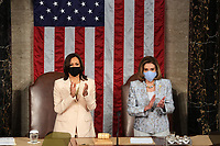 NYTSPEECH - Vice President Kamala Harris and House Speaker Nancy Pelosi before President Joe Biden delivered an address to a joint session of Congress at the Capitol in Washington on Wednesday, April 28, 2021.  <br /> CAP/MPI/RS<br /> ©RS/MPI/Capital Pictures