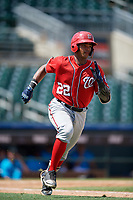 Washington Nationals Frailin Turbi (22) runs to first base during an Instructional League game against the Miami Marlins on September 25, 2019 at Roger Dean Chevrolet Stadium in Jupiter, Florida.  (Mike Janes/Four Seam Images)