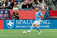 FOXBOROUGH, MA - SEPTEMBER 11: Maxime Chanot #4 of New York City FC passes the ball during a game between New York City FC and New England Revolution at Gillette Stadium on September 11, 2021 in Foxborough, Massachusetts.
