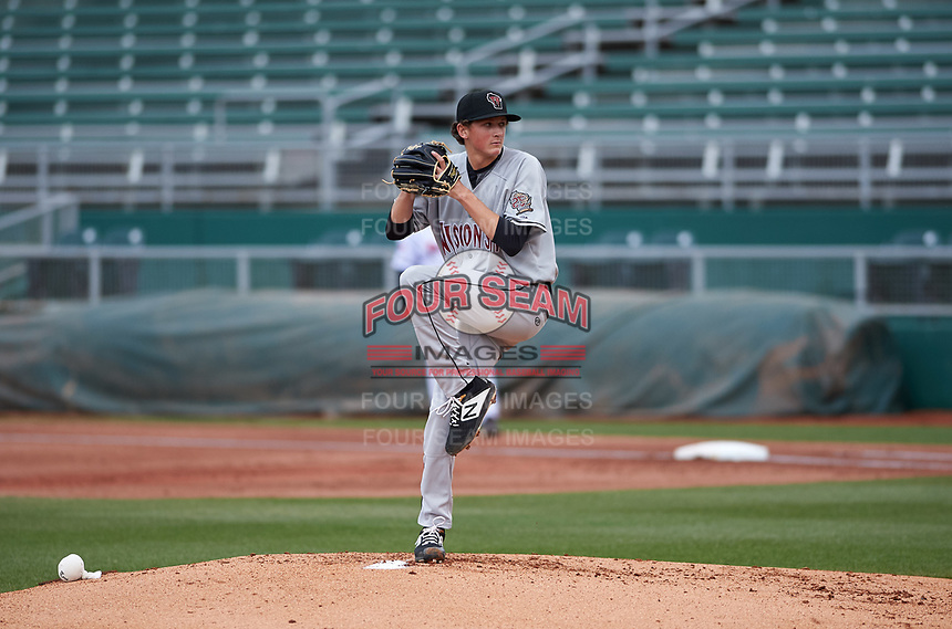 Wisconsin Timber Rattlers relief pitcher Reese Olson (16) during a Midwest League game against the Lansing Lugnuts at Cooley Law School Stadium on May 1, 2019 in Lansing, Michigan. Wisconsin defeated Lansing 8-3 after the game was suspended from the previous night. (Zachary Lucy/Four Seam Images)