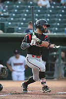 Matthew Acosta (6) of the Lake Elsinore Storm bats against the Inland Empire 66ers at San Manuel Stadium on July 25, 2021 in San Bernardino, California. (Larry Goren/Four Seam Images)