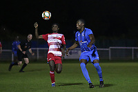 Olamiji Ayoola of Redbridge and Emerson Dju of Ilford during Redbridge vs Ilford, Essex Senior League Football at Oakside Stadium on 15th October 2021