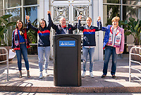 ORLANDO, FL - FEBRUARY 28: Tiffany Roberts Sahaydak, Ali Krieger #11, Orlando Mayor Buddy Dyer,  and Ashlyn Harris #18 stand following a SheBelieves press conference at City Hall on February 28, 2020 in Orlando, Florida.
