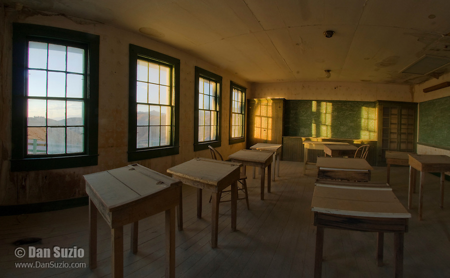 One-room schoolhouse at Ryan, California, a 1920s mining camp in the Greenwater Range on the Eastern edge of Death Valley