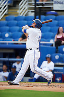 Dunedin Blue Jays first baseman Rowdy Tellez (8) at bat during the first game of a doubleheader against the Palm Beach Cardinals on July 31, 2015 at Florida Auto Exchange Stadium in Dunedin, Florida.  Dunedin defeated Palm Beach 7-0.  (Mike Janes/Four Seam Images)