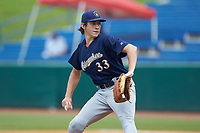 Jackson Baumeister (33) of The Bolles School in Jacksonville, FL playing for the Milwaukee Brewers scout team during the East Coast Pro Showcase at the Hoover Met Complex on August 2, 2020 in Hoover, AL. (Brian Westerholt/Four Seam Images)