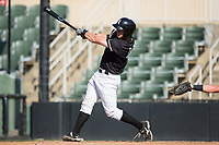 Casey Schroeder (17) of the Kannapolis Intimidators follows through on his swing against the Hagerstown Suns at Kannapolis Intimidators Stadium on June 15, 2017 in Kannapolis, North Carolina.  The Intimidators walked-off the Suns 5-4 in game one of a double-header.  (Brian Westerholt/Four Seam Images)
