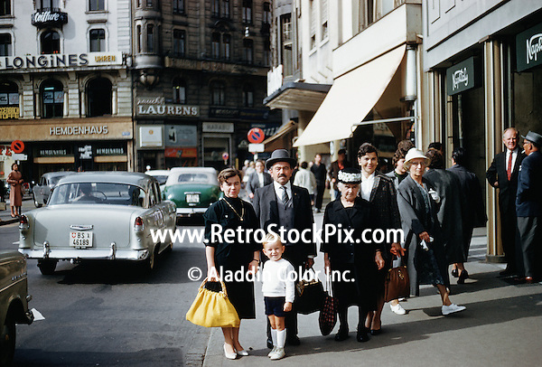 Family shopping in France. 1959