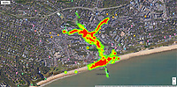 BNPS.co.uk (01202 558833)<br /> Pic: Hubbub/BNPS<br /> <br /> Pictured: A heat map of litter in Bournemouth.<br /> <br /> Litter dropped in Britain's most popular seaside resort reduced by 75 per cent this summer thanks to a new project using drone technology. <br /> <br /> The first-of-its kind survey identified alarming litter patterns along Bournemouth beach in Dorset with a staggering 123,000 bits of litter discarded in just one week.<br /> <br /> The data was then used to target the worst areas with strategic bin placement.