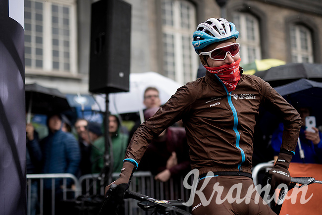 a foul-weather prepped Romain Bardet (FRA/AG2R-La Mondiale) on the start line<br /> <br /> 105th Liège-Bastogne-Liège 2019 (1.UWT)<br /> One day race from Liège to Liège (256km)<br /> <br /> ©kramon