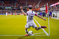 HOUSTON, TX - JANUARY 31: Megan Rapinoe #15 of the United States takes a cornerkick during a game between Panama and USWNT at BBVA Stadium on January 31, 2020 in Houston, Texas.