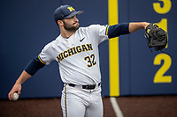 Michigan Wolverines pitcher Joe Pace (32) warms up before the NCAA baseball game against the Michigan State Spartans on May 7, 2019 at Ray Fisher Stadium in Ann Arbor, Michigan. Michigan defeated Michigan State 7-0. (Andrew Woolley/Four Seam Images)