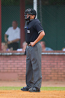 Home plate umpire Mike Dorantes during an Appalachian League game between the Kingsport Mets and the Elizabethton Twins at Joe O'Brien Field August 14, 2010, in Elizabethton, Tennessee.  Photo by Brian Westerholt / Four Seam Images