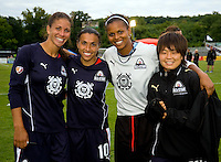 LA Sol players midfielder Shannon Boxx (7), forward Marta (10), goalkeeper Karina LeBlanc (23) and midfielder Aya Miyama (18) pose after the WPS All Star match at Anheuser-Busch Soccer Park, in St. Louis, MO, June 7, 2009. The WPS All Stars won the match 4-2.