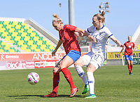 20190301 - LARNACA , CYPRUS : Finnish Sanni Franssi (r) pictured in a duel with Czech Petra Bertholdova (left) during a women's soccer game between Finland and Czech Republic , on Friday 1 March 2019 at the AEK Arena in Larnaca , Cyprus . This is the second game in group A for Both teams during the Cyprus Womens Cup 2019 , a prestigious women soccer tournament as a preparation on the Uefa Women's Euro 2021 qualification duels. PHOTO SPORTPIX.BE   DAVID CATRY