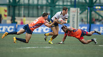 Taikoo Place Scottish Exiles (in orange) vs King's College at UQ (in white) during GFI HKFC Rugby Tens 2016 on 07 April 2016 at Hong Kong Football Club in Hong Kong, China. Photo by Juan Manuel Serrano / Power Sport Images