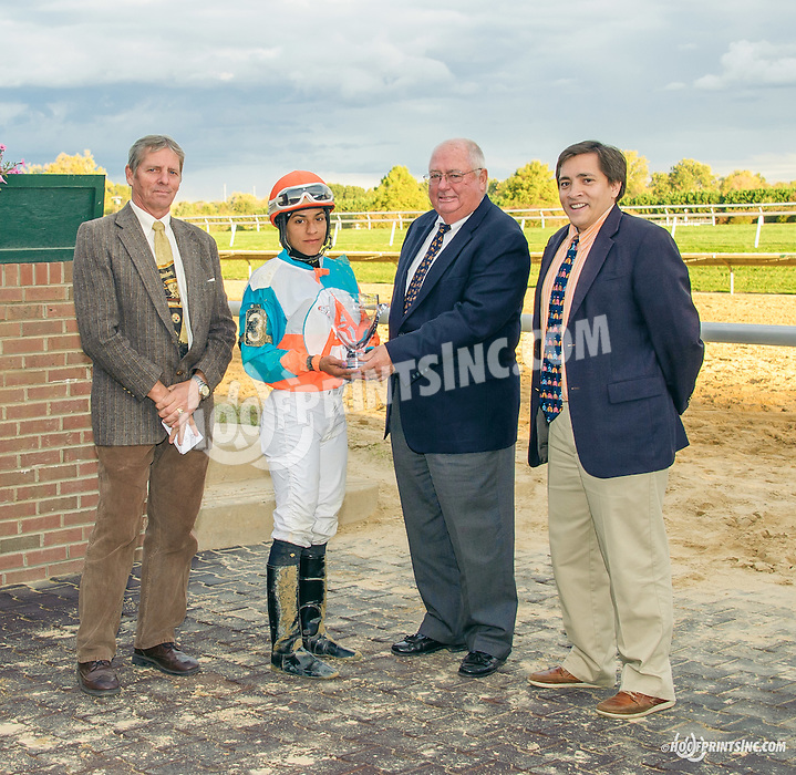 Jim Houghton, John Mooney & Jed Doropresenting the 2015 Leading Rider  trophy to Carol Cedeno at Delaware Park on 10/17/15