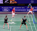 Wales' Sarah Thomas, left, with team-mate Oliver Gwilt <br /> <br /> Photographer Chris Vaughan/Sportingwales<br /> <br /> 20th Commonwealth Games - Day 6 - Tuesday 29th July 2014 - Badminton - Emirates Arena including the Sir Chris Hoy Velodrome - Glasgow - UK