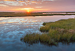 Cape Hatteras National Seashore, North Carolina: Sunrise and sky reflected on a Bodie Island saltwater marsh