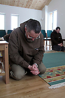 "Praying at noon. Brother Joël in front, brother Bruno in the background...The new Munkeby Mariakloster - kloster is Norwegian for monastery . The four founding French monks will establish their discrete presence as a contemplative monastery according to the Rule of Saint Benedict, written in the 6th century. Brother Joel (55) & Cîteaux's Prior, brothers Arnaud (31), Bruno (33) and Cyril (81), have all chosen to be part of the founding community, despite Norway's rude climate and winter darkness at latitude 63º N, not far from the arctic circle.Munkeby, the ""place of the monks"" was the third and northernmost Norwegian monastery established by the Cistercians in the 12th century"